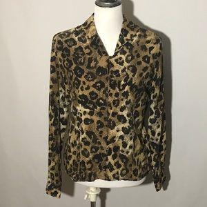 vintage Carlisle silk leopard button up blouse
